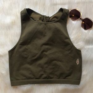 Free People Movement Cropped Top Ties Back Green L